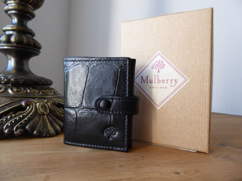 Mulberry Vintage Tri Fold Photo Photoframe Mini Wallet in Black Congo New