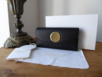 Chloe Pastille Long Continental Flap Wallet in Smooth Black Calfskin