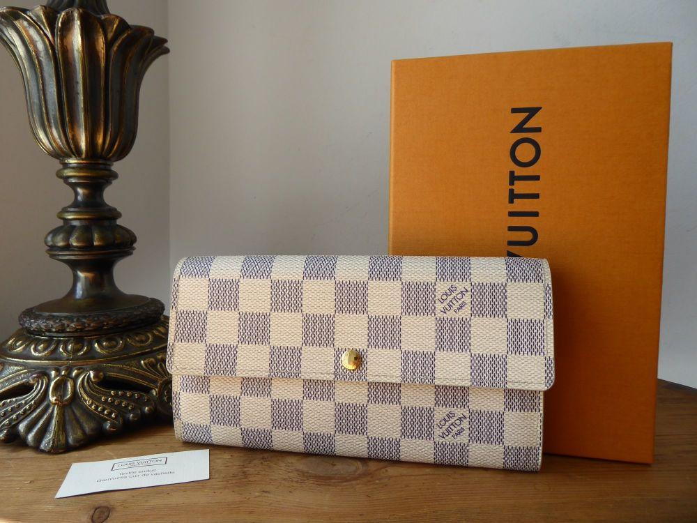 Louis Vuitton Sarah Continental Purse Wallet in Damier Azur