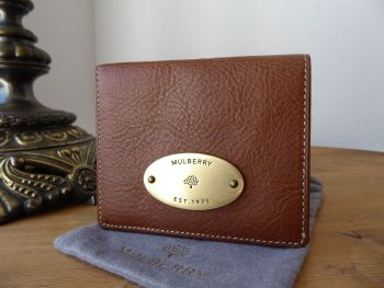 Mulberry ID Small Purse Wallet in Oak Natural Vegetable Tanned Leather with Brass Hardware