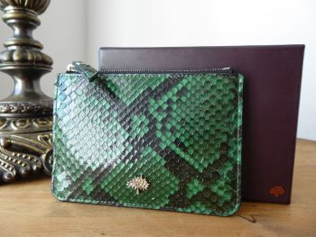 Mulberry Tree Coin Purse Small Zip Pouch in Emerald Green Python