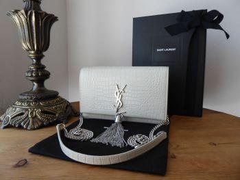Saint Laurent YSL Small Tassle Kate in Blanc Jolie Crema Crocodile Embossed Shiny Calfskin - New*