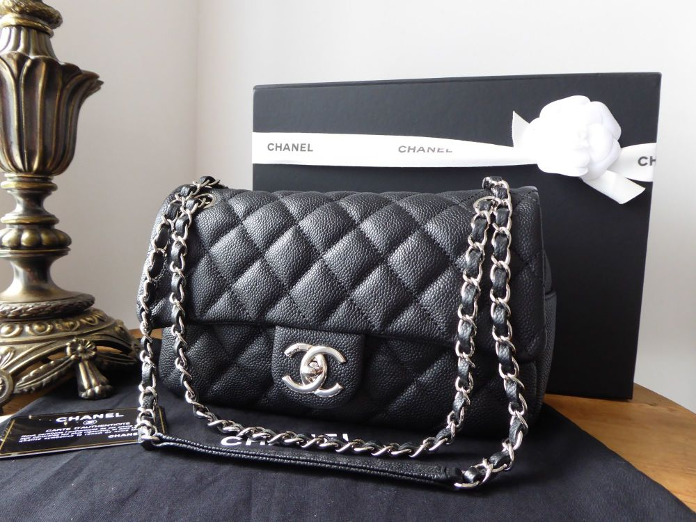 Chanel Casual Journey Easy Flap in Black Matte Caviar with Shiny Silver Har