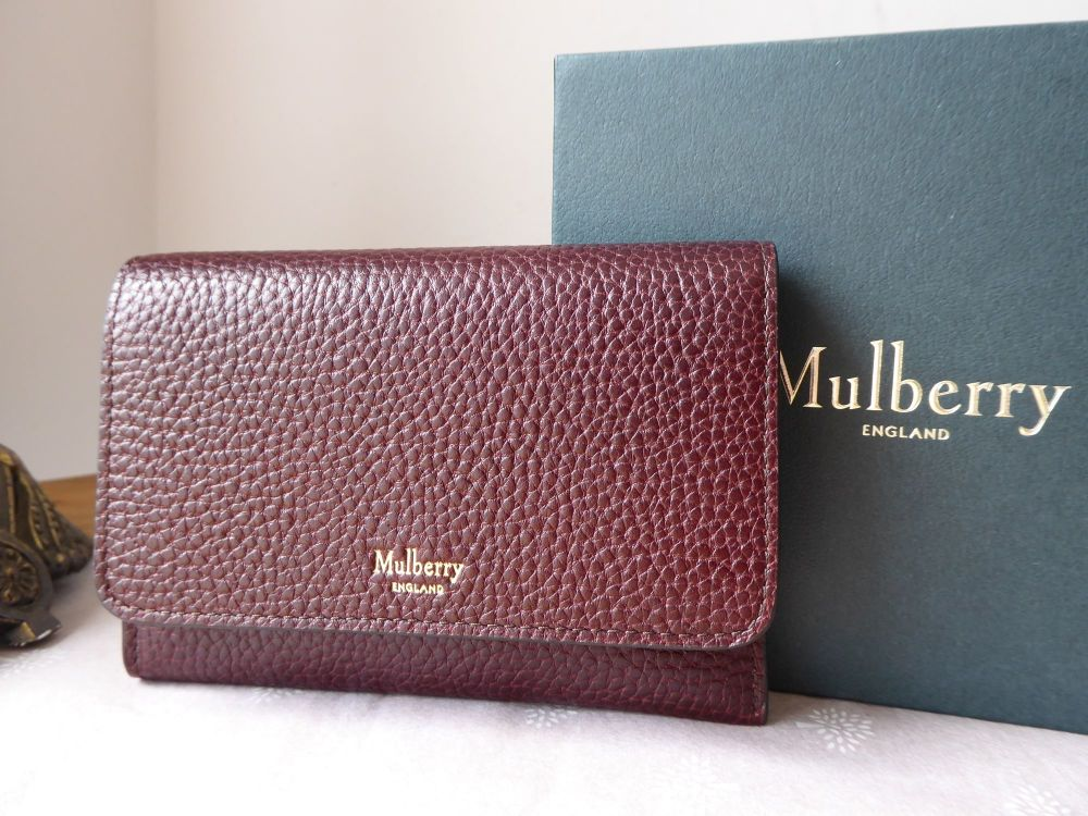 Mulberry Continental Key Coin Pouch in Oxblood Grain Vegetable Tanned Leath