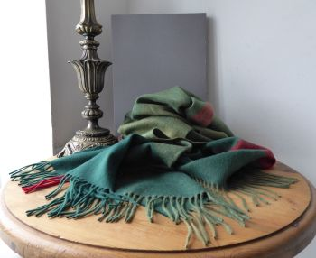 Mulberry Large Fringed Rectangular Scarf Wrap in Green & Red Woven Tartan Check 100% Lambswool - As New