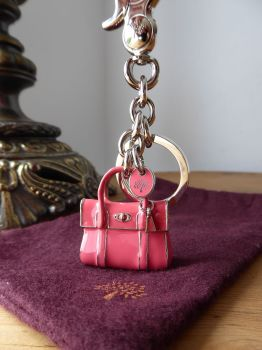 Mulberry Mini Bayswater Keyring Bag Charm in Lipstick Pink Enamel with Silver Hardware