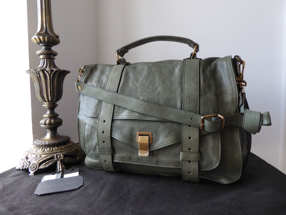 Proenza Schouler PS1 Large Satchel in Moss Green with Antiqued Brass Hardwa