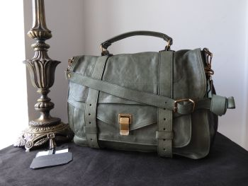 Proenza Schouler PS1 Large Satchel in Moss Green with Antiqued Brass Hardware