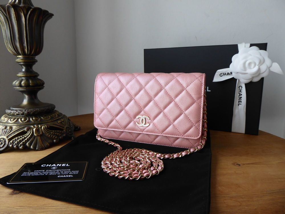 Chanel Wallet on Chain WoC in Pink Iridescent Caviar with Pearly CC Plaque