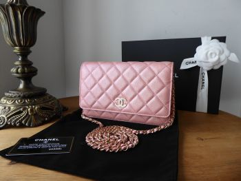 Chanel Wallet on Chain WoC in Pink Iridescent Caviar with Pearly CC Plaque - As New