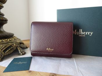 Mulberry Small Continental French Purse Wallet in Oxblood Grain Veg Tanned Leather - New