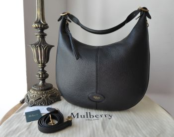 Mulberry Selby Hobo in Black Small Classic Grain & Felt Liner
