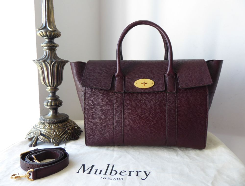 Mulberry Bayswater with Strap in Oxblood Grain Veg Tanned Leather with Felt