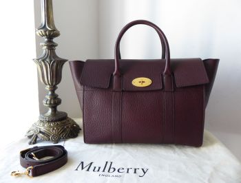 Mulberry Bayswater with Strap in Oxblood Grain Veg Tanned Leather with Felt Liner