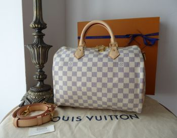 Louis Vuitton Speedy Bandoulière 30 in Damier Azur & Handbag Liner - As New*