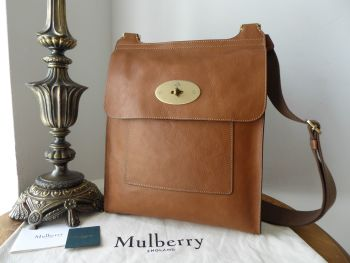 Mulberry Classic Large Antony Messenger in Oak Natural Vegetable Tanned Leather - New