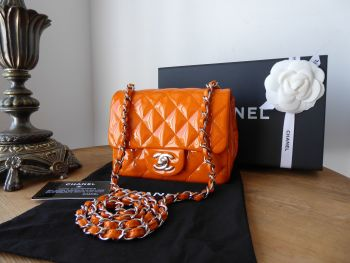Chanel Classic Square Mini Flap in Orange Patent with Shiny Silver Hardware