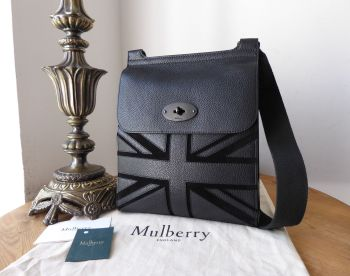 Mulberry Antony Union Jack Regular Messenger in Black Small Classic Grain &  Suede