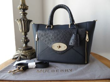 Mulberry Small Willow Tote in Navy Blue Classic Calf & Ostrich Mix