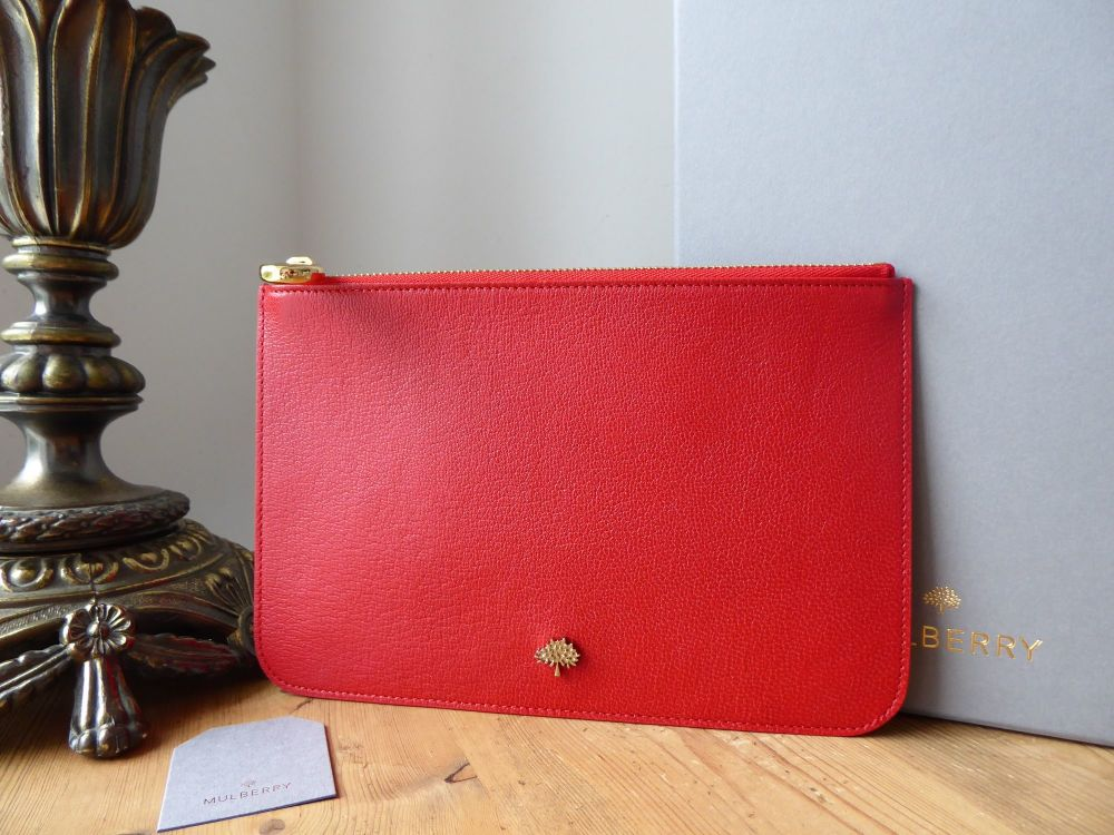 Mulberry Tree Medium Zip Pouch in Bright Red Glossy Goat Leather New