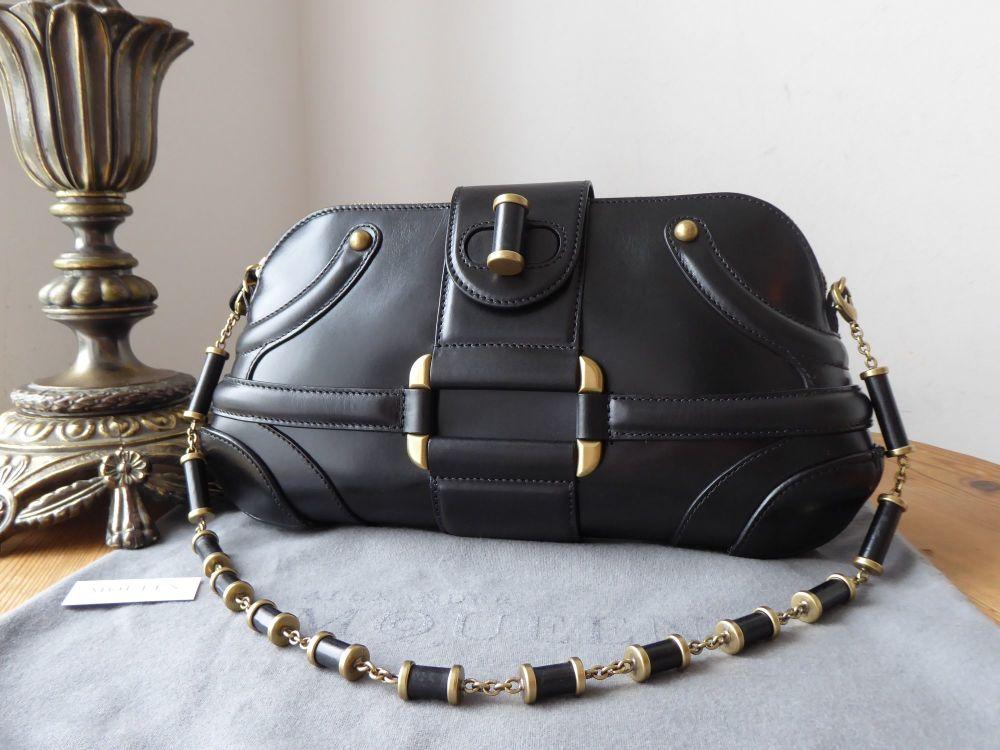 Alexander McQueen Novak Shoulder Clutch in Black Box Leather