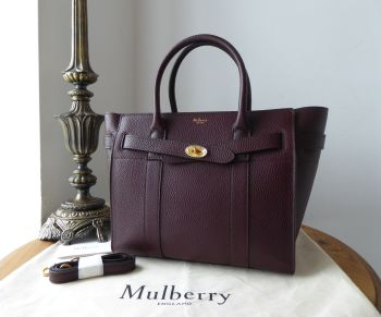 Mulberry Small Zipped Bayswater in Oxblood Grain Vegetable Tanned Leather - New