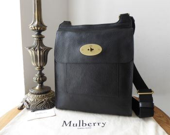 Mulberry Classic Heritage Large Antony Messenger in Black Natural Vegetable Tanned Leather - New