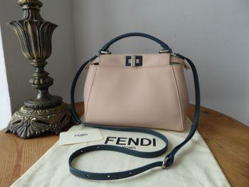 Fendi Peekaboo Mini Colorblock in Soap Pink & Amazzonia Marine Blue Nappa - New*