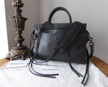 Balenciaga Mute Small City Bag in Steel Grey Glazed Lambskin - As New*