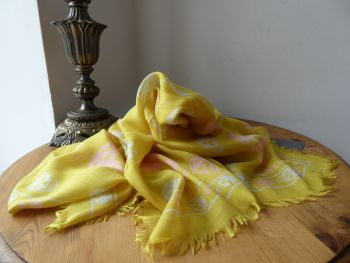 Alexander McQueen Skull Scarf in Marigold Yellow with Bicolour Skulls in Modal Silk Mix - New*