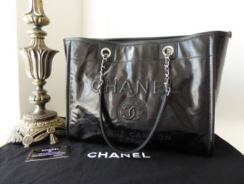 Chanel Deauville Medium Tote in Black Calfskin Vernice with Shiny Silver Hardware - New