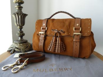 Mulberry Tassel Alexa Satchel in Sycamore Suede with Shiny Gold Tone Hardware