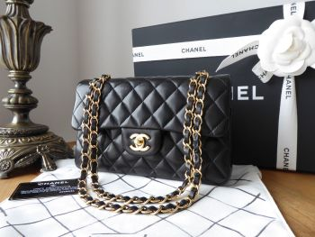 Chanel Classic Small Flap Bag in Black Lambskin with Gold Hardware
