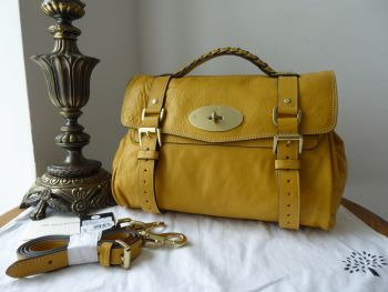 Mulberry Regular Alexa Satchel in Butter Yellow Soft Buffalo Leather - As New