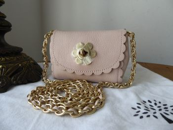 Mulberry Cecily Flower Lock Mini Flap Bag in Light Berry Cream Glossy Goat Leather - New