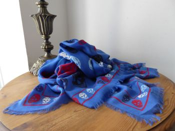 Alexander McQueen Multiskull Box Scarf in Royal Blue with Multicolour Skulls in Modal Wool Blend - As New