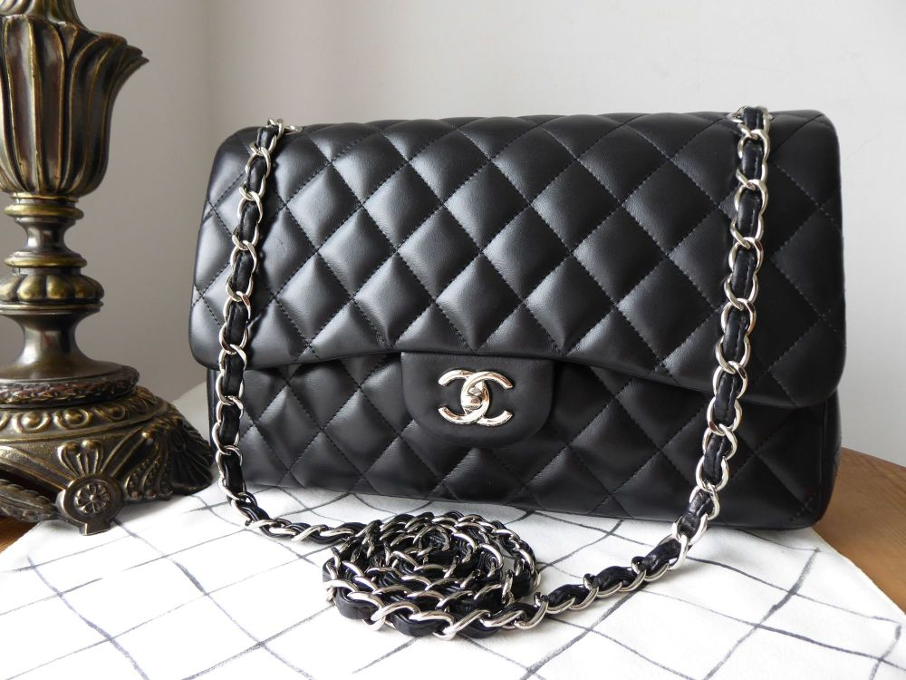Chanel Timeless Classic 2.55 Jumbo Double Flap Bag in Black Lambskin with S