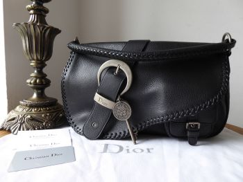 Christian Dior Braided Gaucho Saddle Bag in Black Calfskin with Antiqued Silver Hardware