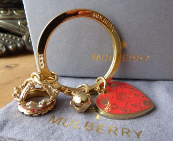 Mulberry Margaret Royal Love Tea & Cake Collection Giant Key Ring Bag Charm - New*