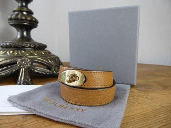 Mulberry Bayswater Postmans Lock Double Tour Wrap Bracelet in Biscuit Brown Glossy Goat