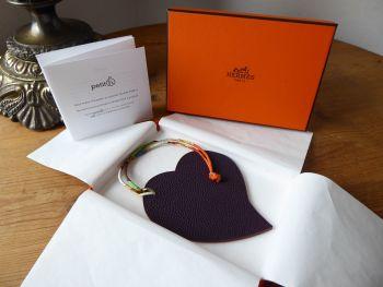 Hermés Petit H Heart Charm in Raisin & Orange  - New