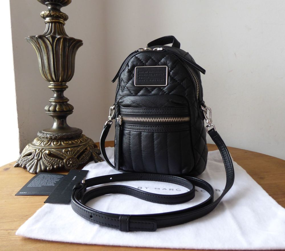 Marc by Marc Jacobs Domo Mini Backpack Crossbody in Black Quilted Calfskin