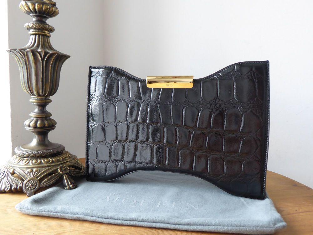 Alexander McQueen Squeeze It Clutch in Black Croc Printed Patent Calfskin A