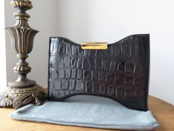 Alexander McQueen Squeeze It Clutch in Black Croc Printed Patent Calfskin - As New