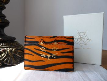 Charlotte Olympia Feline Kitty Card Slip Holder in Orange Tiger Print - New