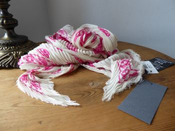 Alexander McQueen Skull Plisse Crinkle Foulard Scarf in Ivory Cream and Hot Pink Modal - New