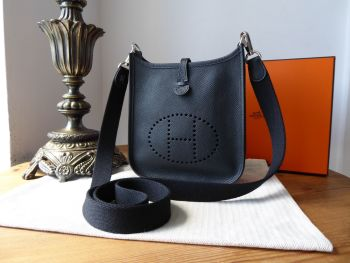 Hermés Evelyne III TPM Mini 16 in Black Supple Epsom Leather with Palladium Silver Hardware - As New