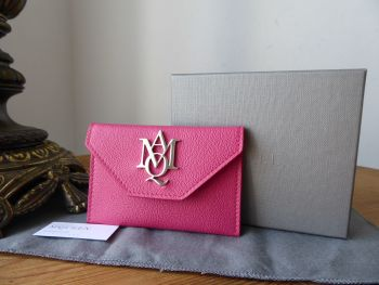 Alexander McQueen Insignia Envelope Card Holder in Peony Pink Grainy Calfskin with Silver Hardware