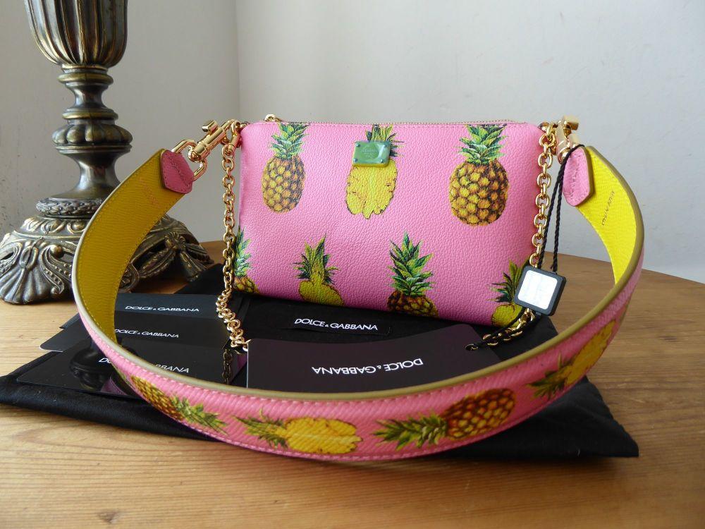 Dolce & Gabanna Pineapple Wristlet Shoulder Pochette with Strap New