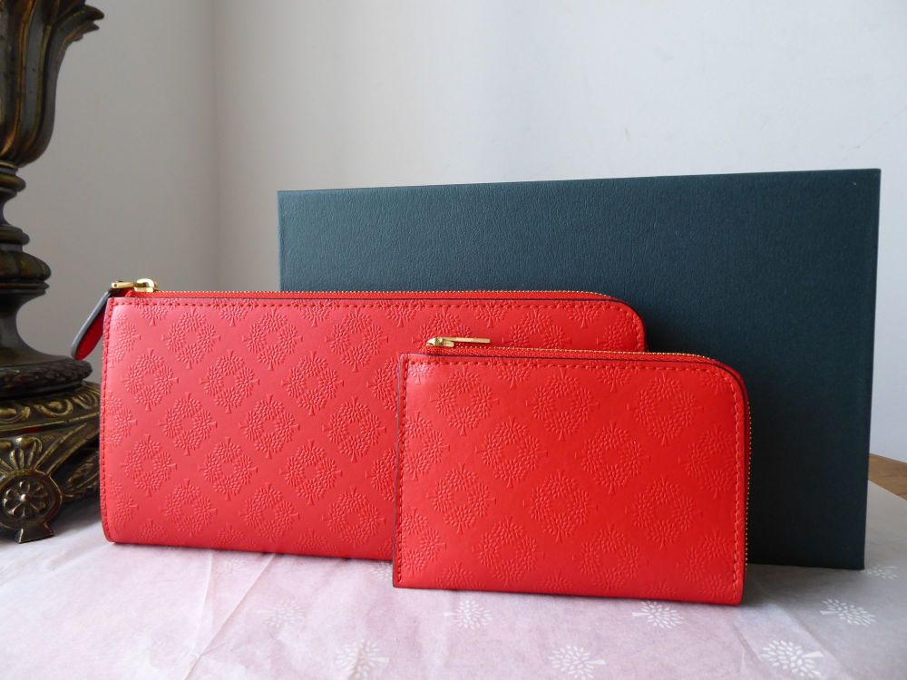 Mulberry Long Part Zip Around Continental Purse and Coin Pouch in Fiery Red